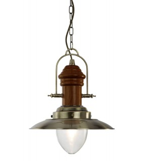 Fisherman Antique Brass And Wood Pendant With Clear Glass - Searchlight 3301AB