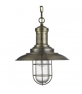 1 Light Ceiling Pendant Antique Brass, Seeded Glass