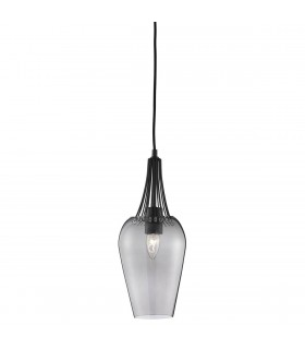 1 Light Ceiling Pendant Black with Smoked Glass Shade, E27