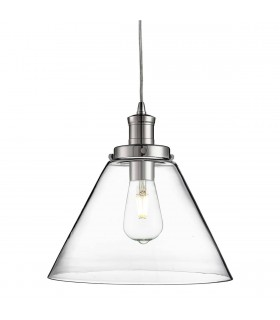 1 Light Dome Ceiling Pendant Chrome with Clear Glass Shade