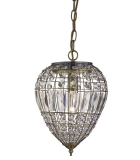 1 Light Ceiling Drop Pendant Antique Brass with Glass Crystals