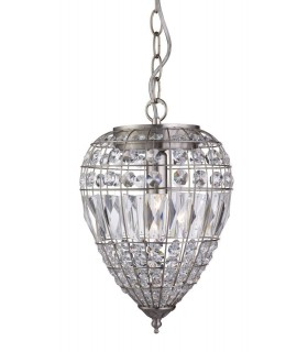 1 Light Ceiling Drop Pendant Satin Silver with Glass Crystals, E14