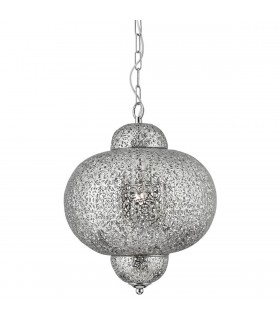 Moroccan Shiny Nickel Pendant - Searchlight 9221-1SS