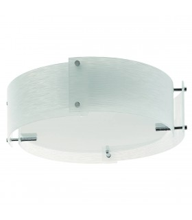3 Light Flush Ceiling Light Chrome and White Frosted Glass