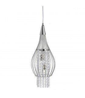 2 Light Ceiling Pendant Chrome with Glass Crystals