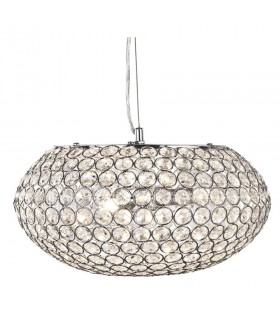 3 Light Ceiling Pendant Chrome with Glass Crystals