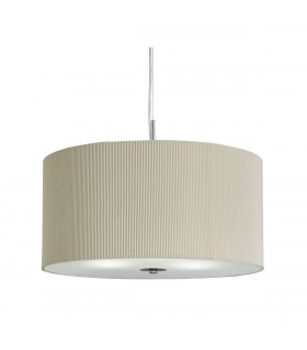 Drum Pleat Small Chrome Pendant With Glass Diffuser And Cream Shade - Searchlight 2353-40CR