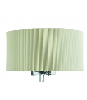 2 Light Indoor Wall Light Chrome, Glass Diffuser And Cream Shade