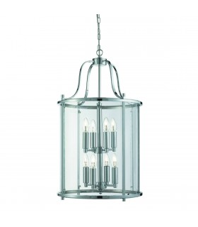 Victorian Lanterns Chrome And Glass Eight Light Pendant - Searchlight 3068-8CC