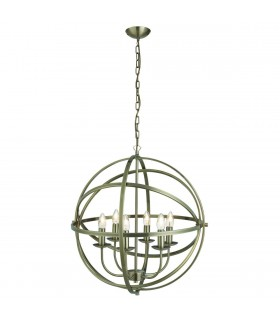 6 Light Spherical Cage Ceiling Pendant Antique Brass