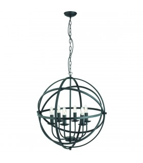 6 Light Spherical Cage Ceiling Pendant Matt Black