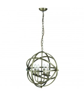 4 Light Spherical Cage Ceiling Pendant Antique Brass