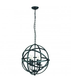 4 Light Spherical Cage Ceiling Pendant Matt Black