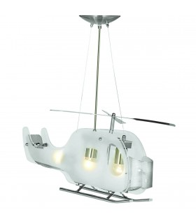 Novelty Satin Silver And Glass Helicopter Ceiling Pendant - Searchlight 639