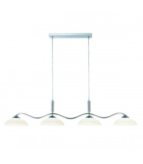4 Light Ceiling Pendant Chrome, Frosted Glass Four Waved Bar