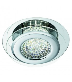 LED Round Flush Ceiling Light Chrome with Crystal Glass Centre