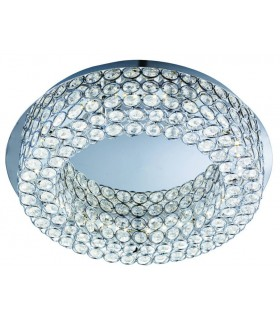 LED Round Flush Ceiling Light Chrome, Crystal Glass with Mirror Centre