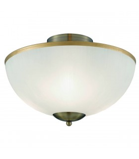 3 Light Flush Ceiling Light Antique Brass and Glass