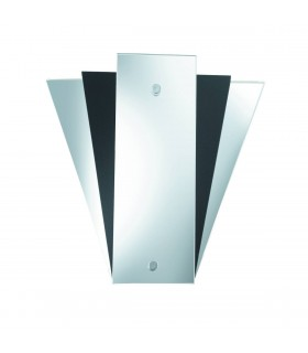 Mirror And Black Glass Fan Style Wall Light - Searchlight 6201BK
