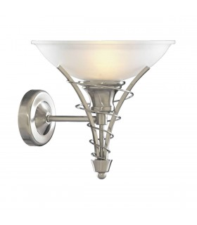 1 Light Wall Light Satin Silver with Opal Glass Shade