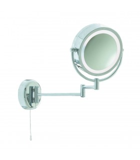 1 Light Swing Arm Magnifying Bathroom Mirror Chrome IP44