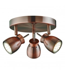 LED 3 Light Spotlight Copper, GU10