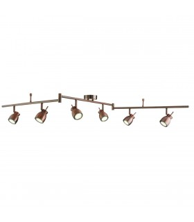 LED Adjustable 6 Light Spotlight Bar Copper, GU10