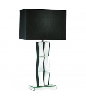 1 Light Wood Table Lamp with Mirrored Glass and Black Shade, E27