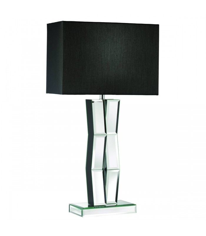 black wood table lamp with mirrored glass and black shade searchlight 5110bk. Black Bedroom Furniture Sets. Home Design Ideas