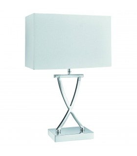 1 Light Table Lamp Chrome with White Shade, E14