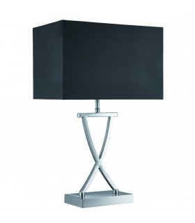 1 Light Table Lamp Satin Silver with Black Shade, E14