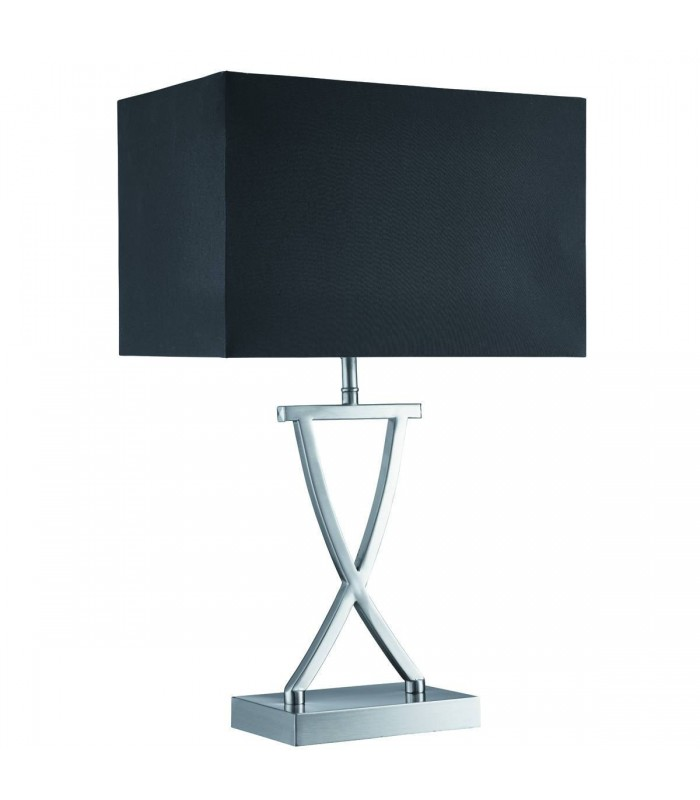 Satin Silver Table Lamp With Black Shade - Searchlight 7923SS