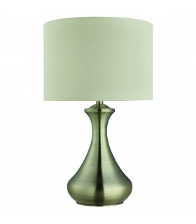 1 Light Table Touch Lamp Antique Brass with Cream Shade, E14