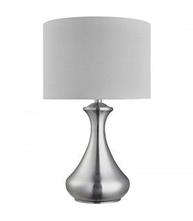 1 Light Table Touch Lamp Satin Silver with White Shade, E14