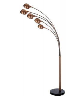 5 Light Floor Lamp Copper with Marble Base, E14