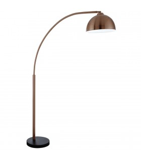 1 Light Floor Lamp Copper with Black Marble Base