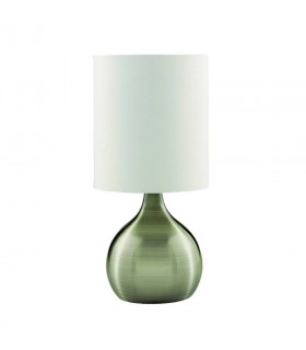 1 Light Table Touch Lamp Antique Brass with Fabric Shade, E14