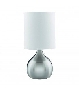 Satin Silver Pear Base Touch Table Lamp With Fabric Shade - Searchlight 3923SS