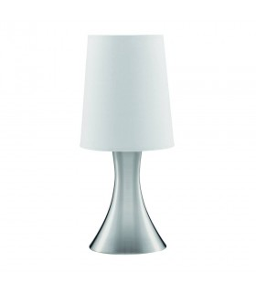 1 Light Table Touch Lamp Satin Silver with Fabric Shade, E14