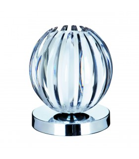 1 Light Table Touch Globe Lamp Chrome, with Clear Acrylic and Frosted Glass