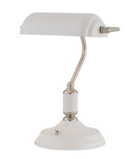 Banker Table Lamp 1 Light With Toggle Switch, Satin Nickel, Sand White