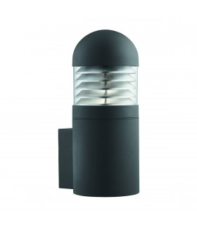 1 Light Outdoor Large Wall Light Black with Polycarbonate Shade IP44, E27