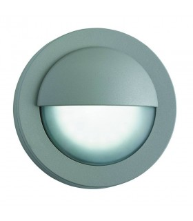 LED Outdoor Bulkhead Glass Aluminium Wall Light Grey IP44