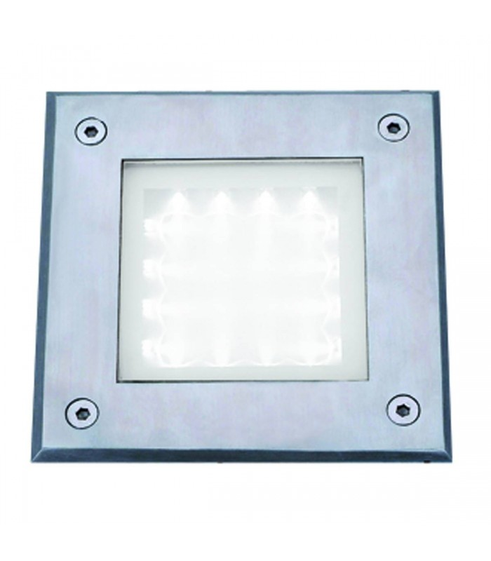 LED Indoor And Outdoor Stainless Steel And Glass Square Walkover Light - Searchlight 9909WH