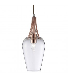 Whisk Copper Finish Pendant With Clear Glass Shade - Searchlight 8911CU