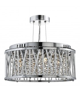 Elise Chrome And Crystal Three Light Ceiling Light - Searchlight 8333-3CC