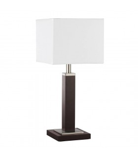 Wavereley Satin Silver And Brown Wood Table Lamp - Searchlight 8877BR