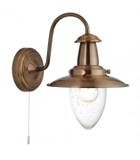 Fisherman Copper Finish Wall Light With Seeded Glass - Searchlight 5331-1CU