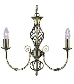 Zanzibar Antique Brass Three Light Pendant - Searchlight 8393-3