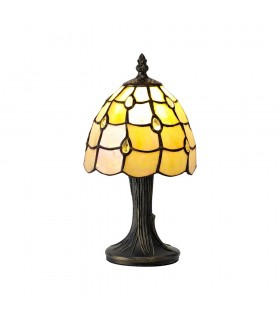 Tiffany Table Lamp, 1 x E14, Black, Gold, Beige, Clear Crystal Shade